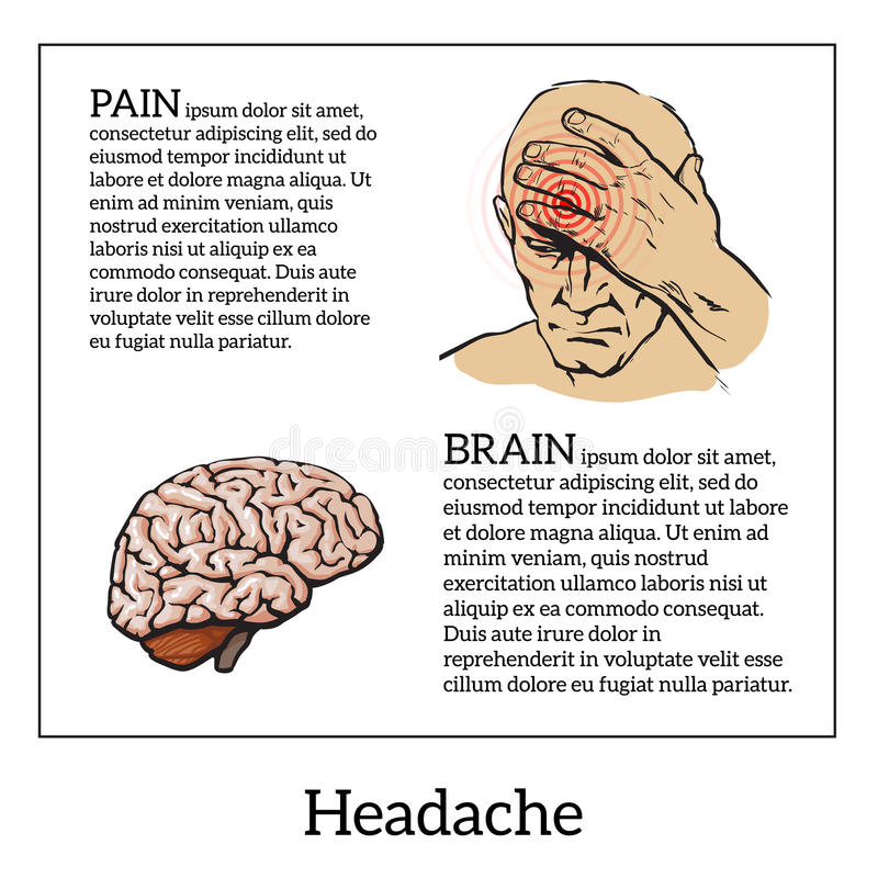 Concept headache, sketch illustration royalty free illustration