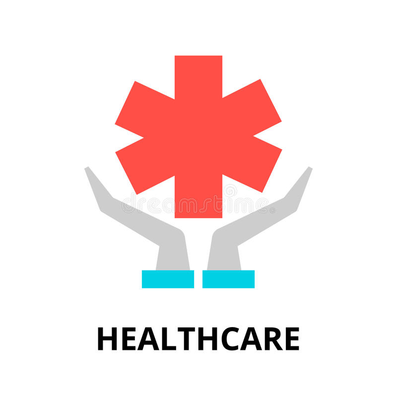 Concept of healthcare icon. Modern flat editable line design vector illustration, concept of healthcare icon, for graphic and web design stock illustration