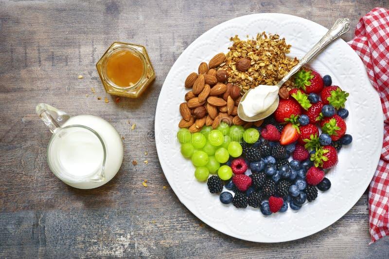 Download Concept Of Healthy Breakfast : Granola,nuts,fresh Berries And Yo Stock Photo - Image of barley, muesli: 83455292