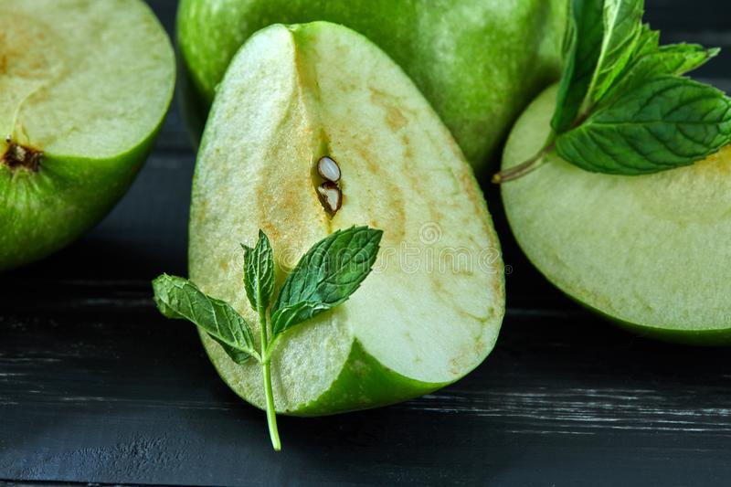 The concept of healthy eating, fresh apples royalty free stock photo