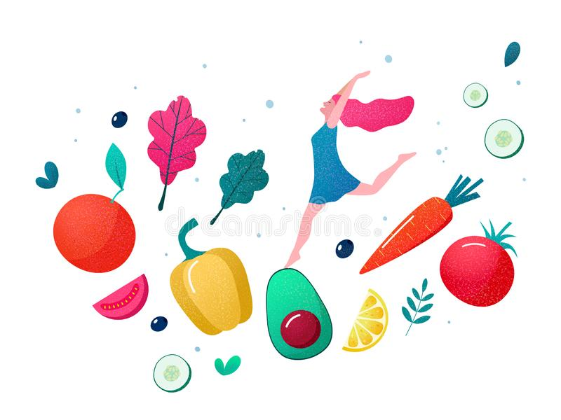Concept of healthy eating, lifestyle vector illustration. Concept of healthy eating vector illustration royalty free stock photography