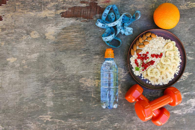 Concept healthy food and sports lifestyle. Proper nutrition. Top view. Flat lay stock photos