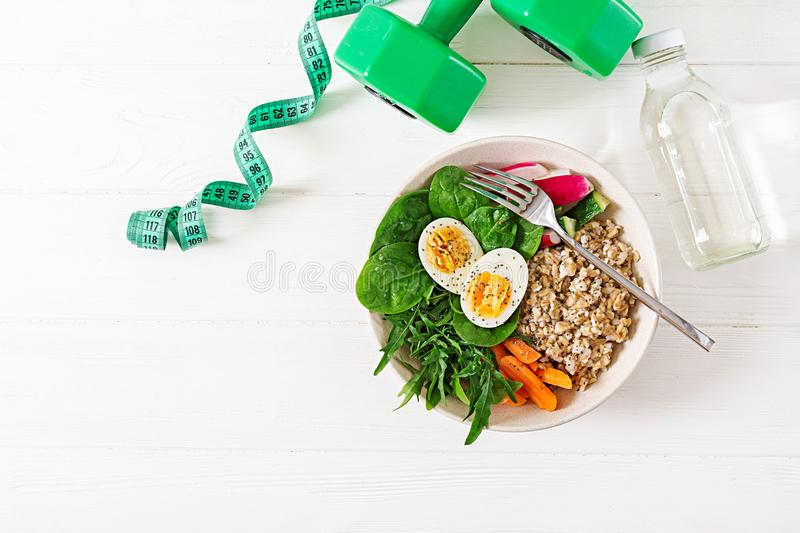 Concept healthy food and sports lifestyle. Vegetarian lunch. Healthy breakfast. Proper nutrition. Top view. Flat lay royalty free stock images