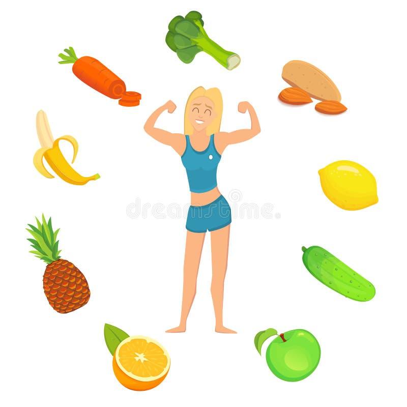 concept healthy lifestyle молодая женщина фитнеса с хорошей едой иллюстрация вектора