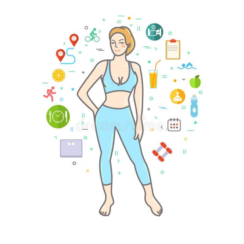 concept healthy lifestyle иллюстрация штока