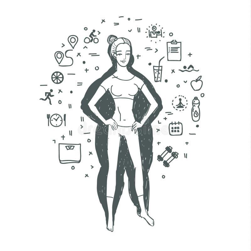 concept healthy lifestyle бесплатная иллюстрация