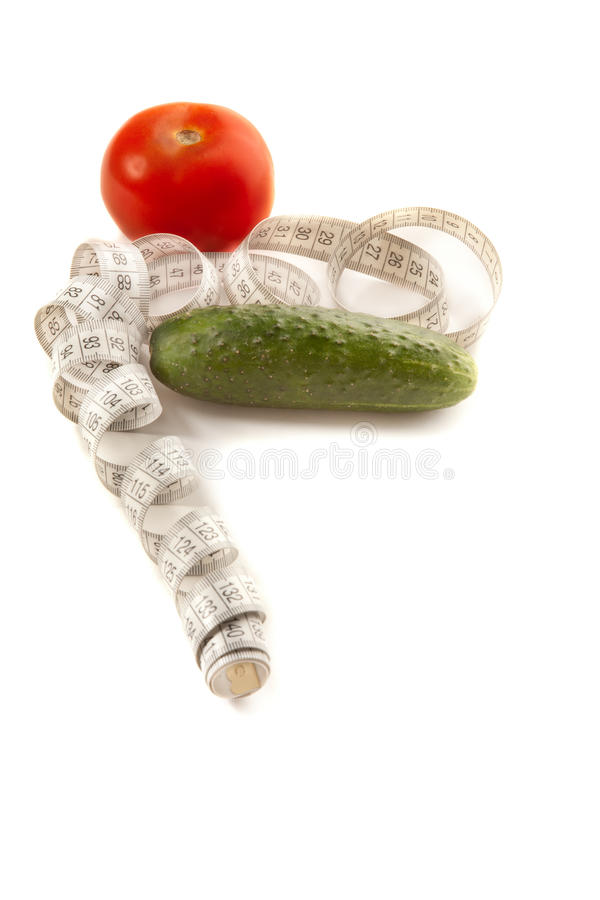 Concept of healthy lifestyle (cucumber and tomato)