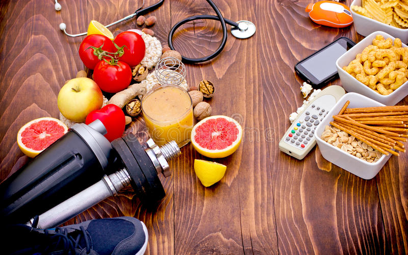 The concept of healthy ways and unhealthy lifestyles. Choice on You (choice is yours stock photography