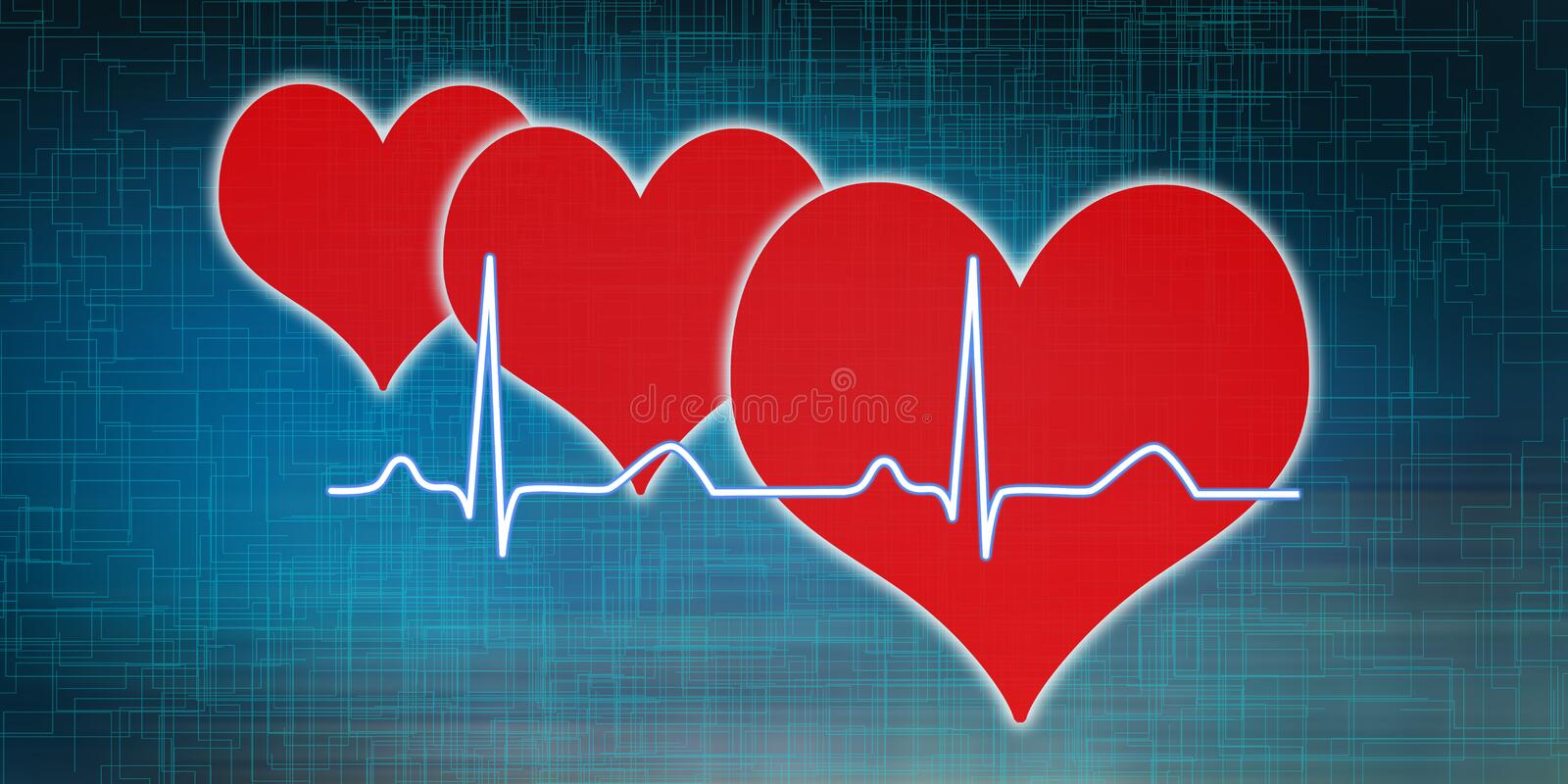 Concept of heart beats graph vector illustration