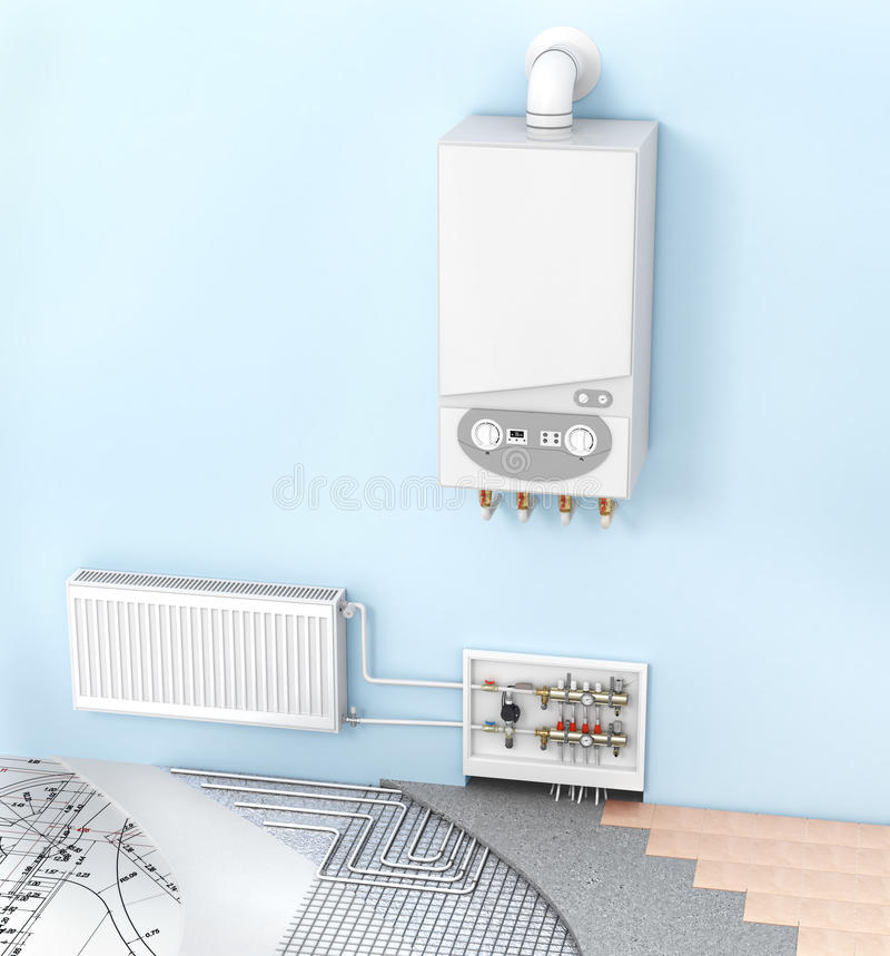 The concept of heating with radiators and a boiler . Underfloor heating royalty free stock image