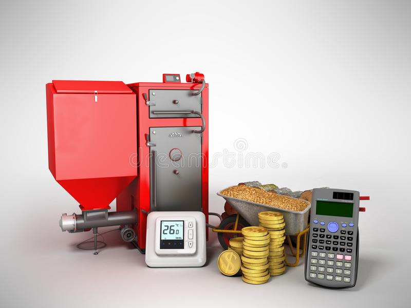 Concept heating with solid boiler pallets 3d rendering on a gray royalty free illustration