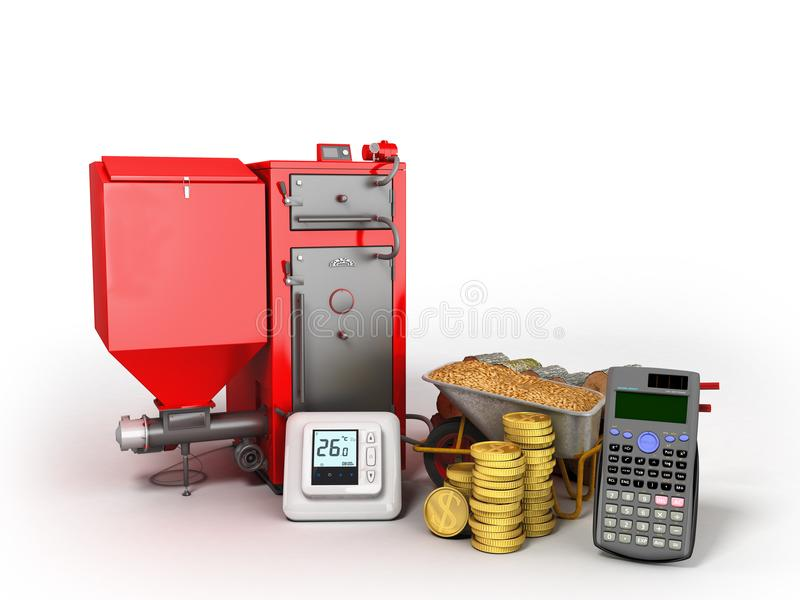 Concept heating with solid boiler pallets 3d rendering on a whit vector illustration