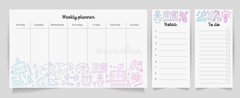 Concept hebdomadaire de calibre de planificateur avec le modèle de gradient de texture de fournitures scolaires Organisateur d'is illustration stock