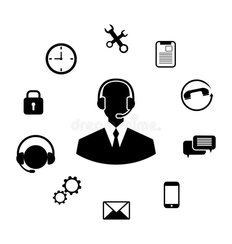 Concept of Help Desk Service. Illustration Concept of Help Desk Service, Call Center with Operator with Headset, Minimalistic Icons - Vector stock illustration