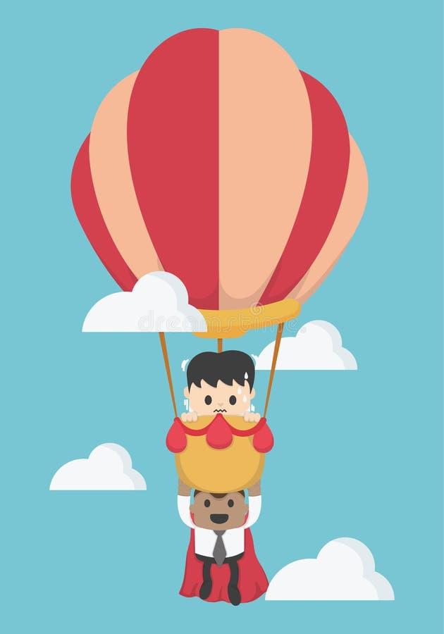 Concept help fellow businessmen to success. Balloon, super busine. Ssman, To the sky eps. 10 stock illustration