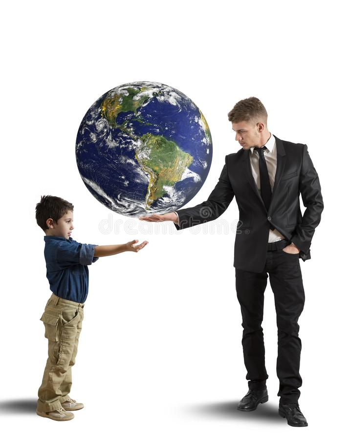 Help new generation. Concept of help new generation from pollution stock images
