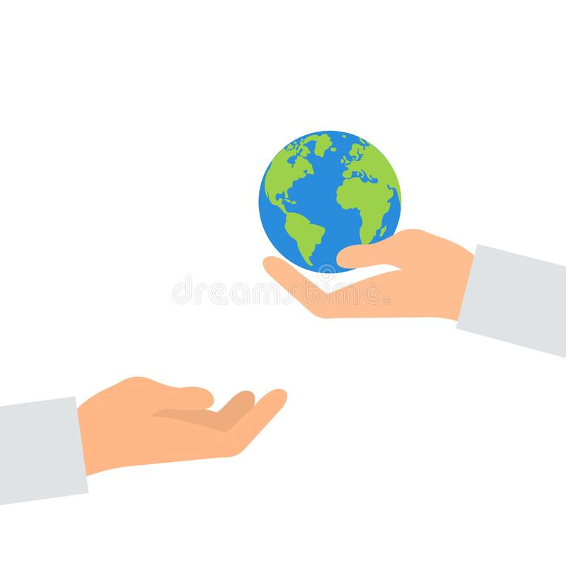 Concept of heritage earth for future generations. Adult pass hands globe in children s hands. Concept of protecting the planet. Hand holding planet. Concept vector illustration