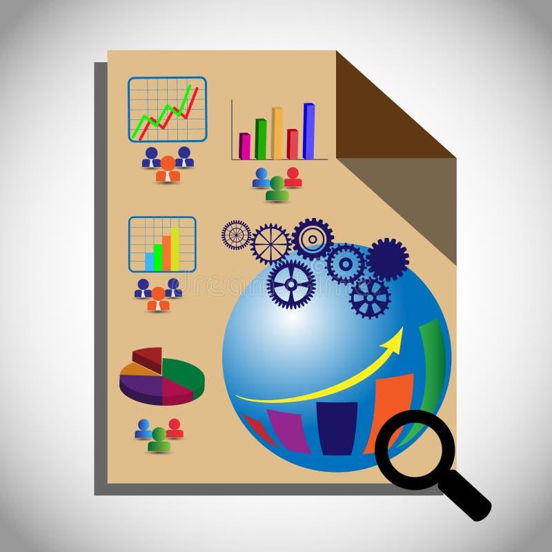 Concept het Bedrijfsintelligentie Testen, dat ook OLAP vertegenwoordigt die de multidimensionele analyse van bedrijfsgegevens uit vector illustratie