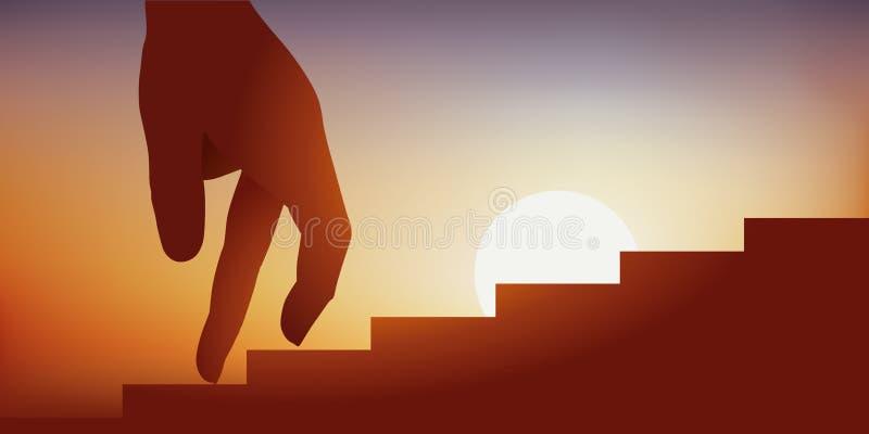 Concept het beklimmen op ladders in zaken of een sociale ladder stock illustratie
