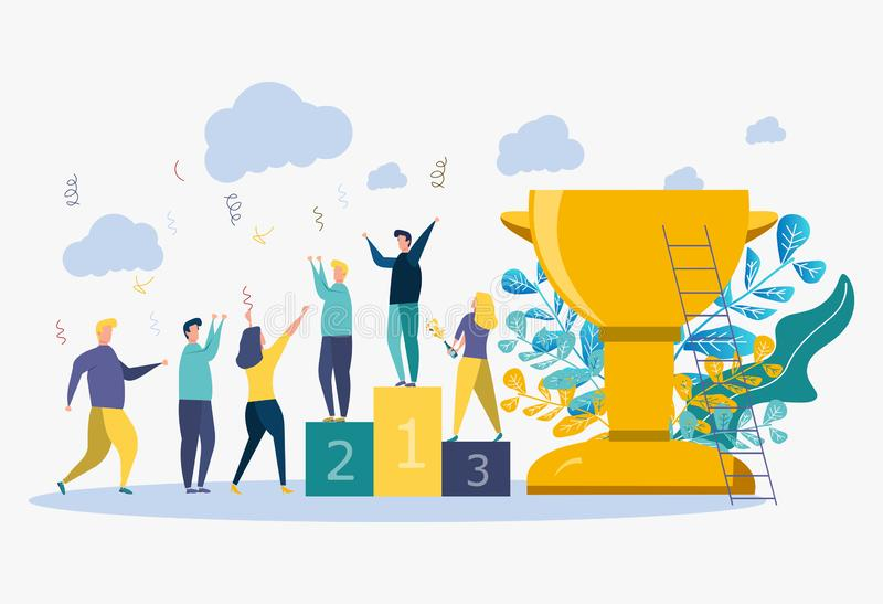 Concept het bereiken van het vector bedrijfsdoel, winnaar met een gouden kop in zijn hand, eerste plaats, nummer één, vakantie royalty-vrije illustratie
