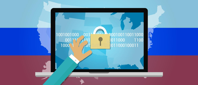Concept het binnendringen in een beveiligd computersysteem van Rusland in de Verenigde Staten royalty-vrije illustratie