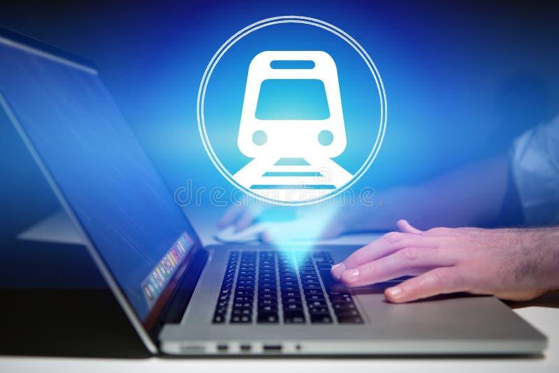 Concept het boeken van online treinkaartje - Reisconcept royalty-vrije illustratie