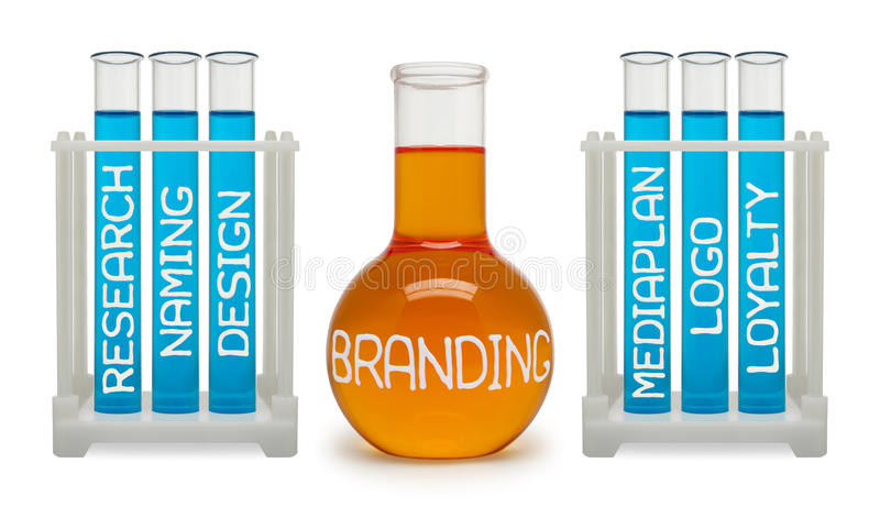 Concept het brandmerken. Cyaan en oranje flessen. royalty-vrije stock fotografie
