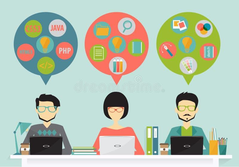 Concept het coworking centrum vector illustratie