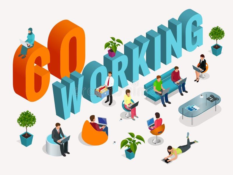 Concept het coworking centrum Commerciële vergadering Gedeelde werkomgeving Mensen die en bij spreken werken royalty-vrije illustratie