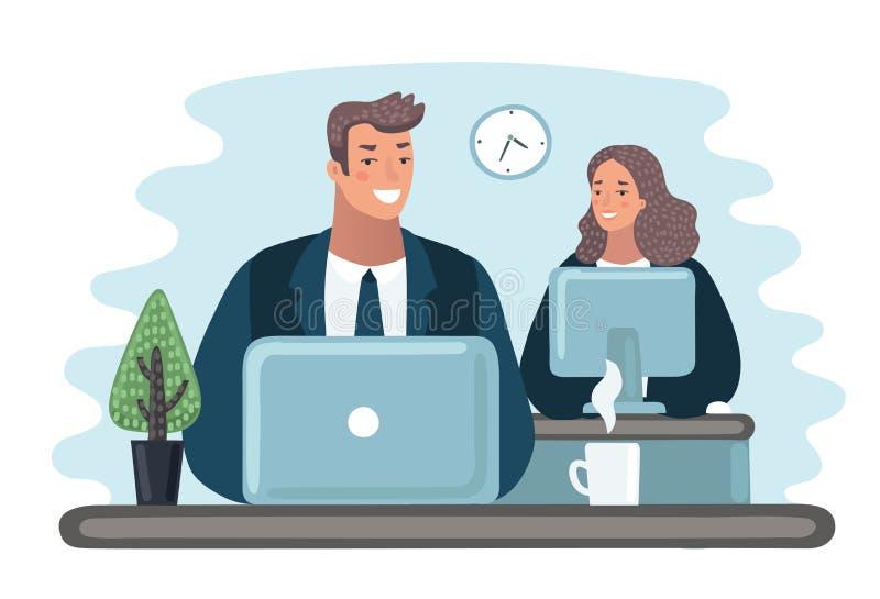 Concept het coworking centrum Mensen die en bij de computers in het open plekbureau spreken werken stock illustratie