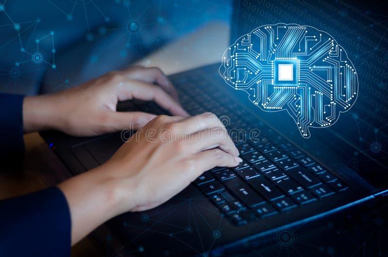 Concept het denken achtergrond met de symbolen van de de reekstechnologie van de hersenencpu Mening onderworpen van computerweten royalty-vrije stock afbeelding