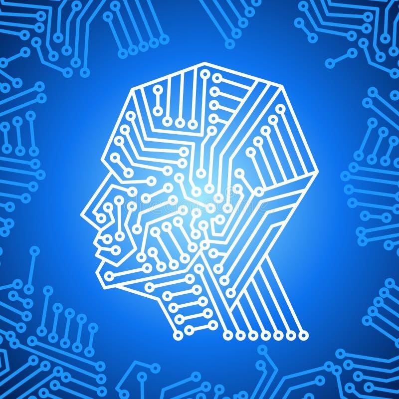 Concept het denken background met brain stock illustratie