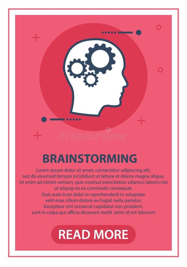 Concept het het denken proces, brainstorming, goed idee, hersenenactiviteit, inzicht Vlak de illustratieontwerp van het lijn vect stock illustratie