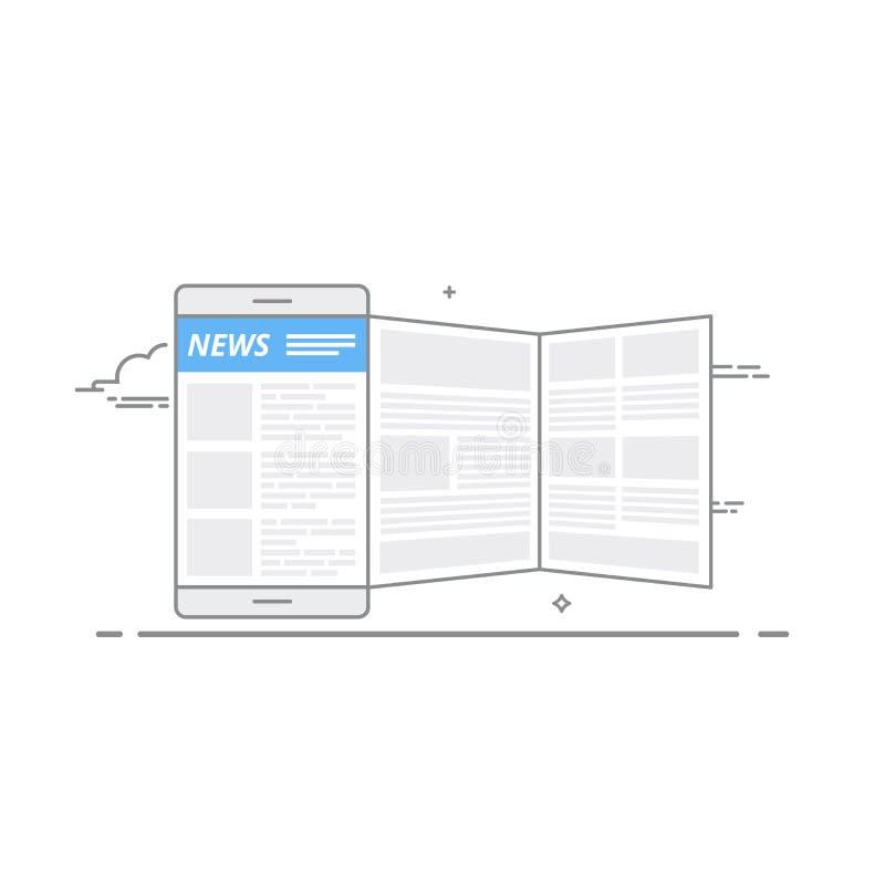 Concept het gebruiken van een mobiel apparaat om nieuws op het internetportaal of door mobiele app te lezen royalty-vrije illustratie