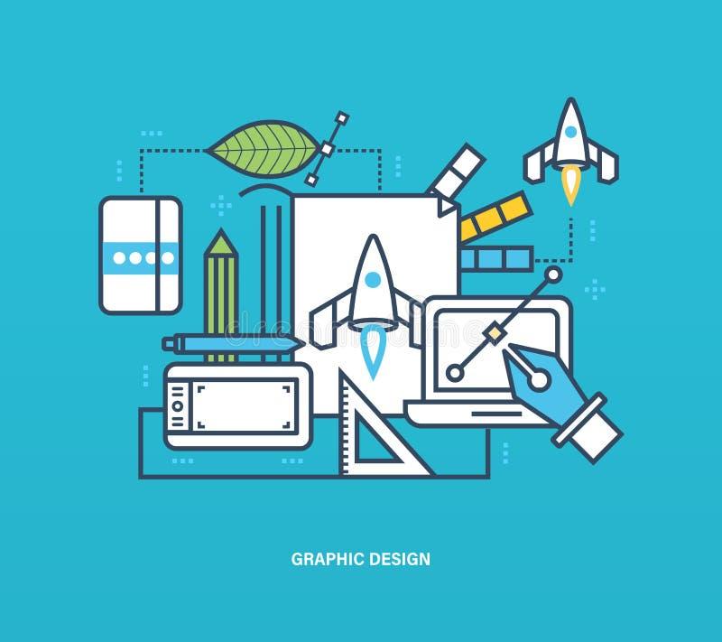 Concept - het grafische ontwerp en de verwezenlijking, het denken, inspiratie voeren ideeën uit stock illustratie