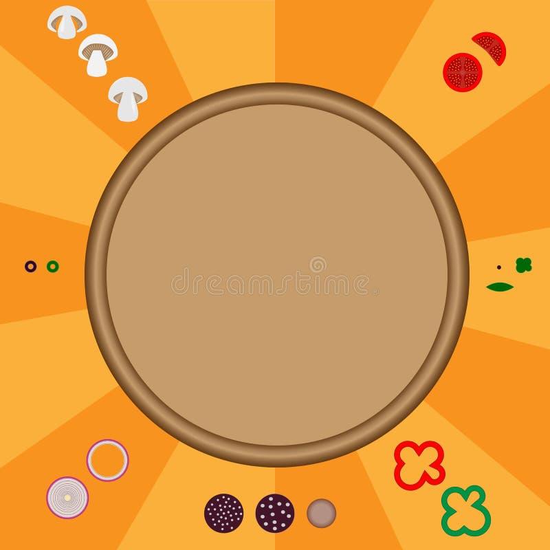 Concept het koken van pizza ingrediënten stock illustratie