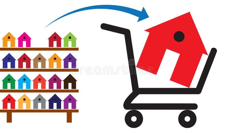 Concept het kopen van een huis of een bezit op verkoop vector illustratie