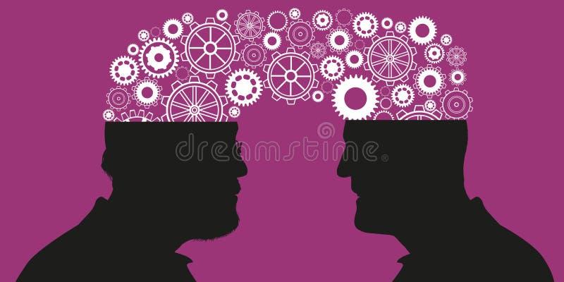 Concept het leren en uitwisseling van ervaringen tussen twee generaties royalty-vrije illustratie