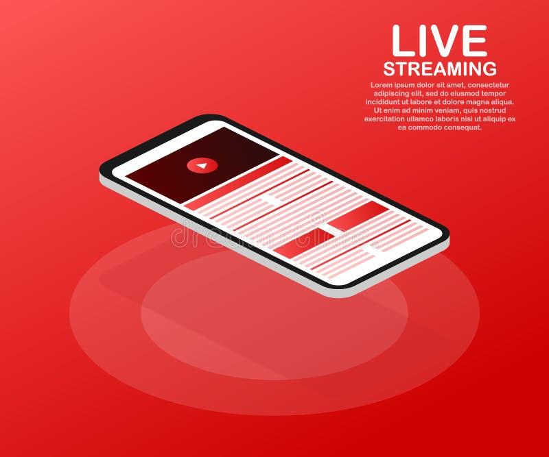 Concept het levende stromen voor webpagina, banner, presentatie, sociale media, documenten Online horlogevideo Vector illustratie vector illustratie