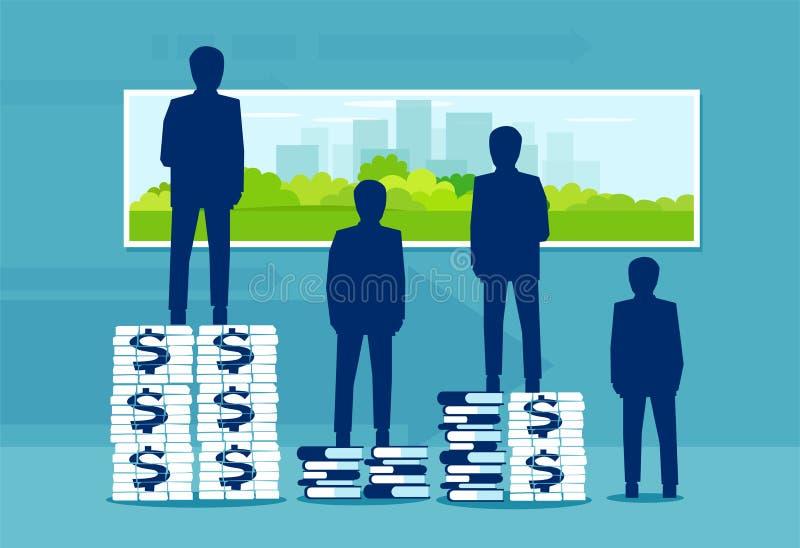 Concept het levenswaarneming afhankelijk van een niveau van onderwijs en rijkdom stock illustratie