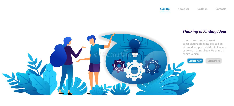 Concept het mechanisme om ideeën, mededeling en dialoog voor inspiratie te denken en te vinden vlak illustratieconcept voor stock illustratie