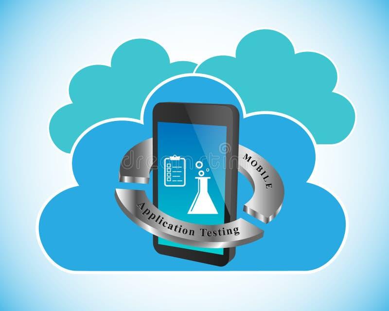 Concept het Mobiele toepassing Testen royalty-vrije illustratie