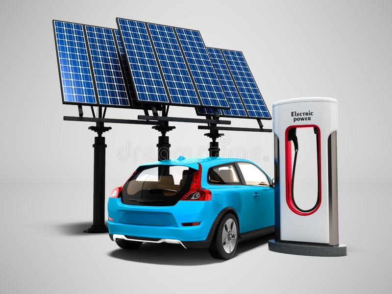 Concept het moderne bijtanken met zonnepanelen voor elektrische auto'sbac stock illustratie