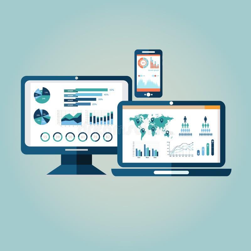 Concept het onderzoeksinformatie van websiteanalytics en de analyse die van gegevensverwerkingsgegevens moderne Gr gebruiken stock illustratie