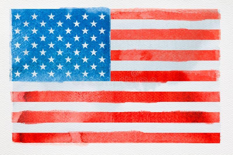 Concept het reizen Waterverf Amerikaanse vlag op wit royalty-vrije stock afbeeldingen