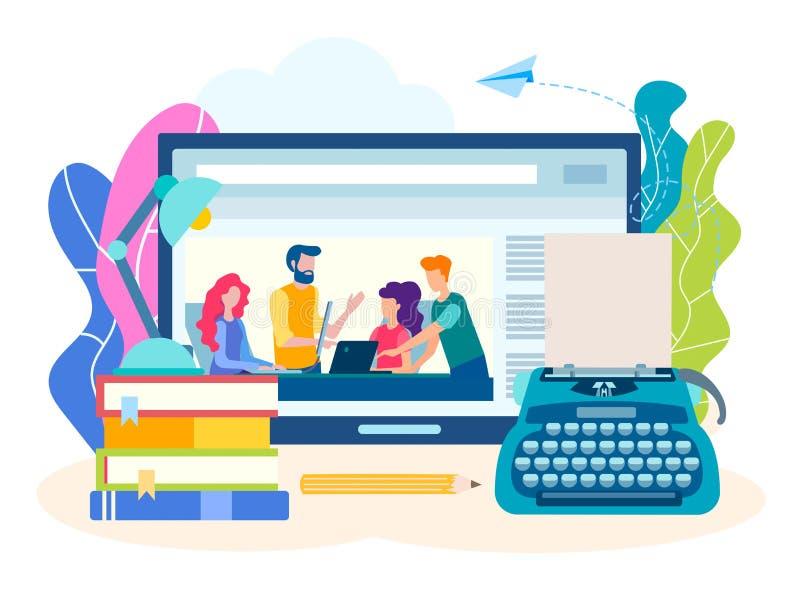 Concept het schrijven cursussen online, creatieve literaire webinar vector illustratie