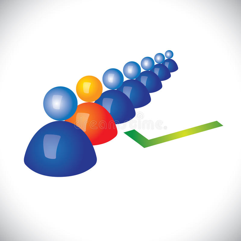 Concept het selecteren van of het inhuren van juist personeel, arbeider vector illustratie