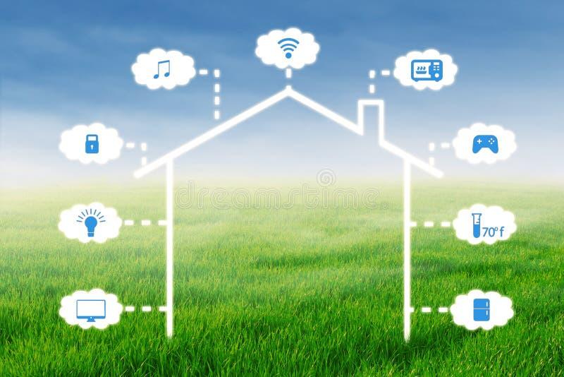 Concept het slimme systeem van de huistechnologie vector illustratie
