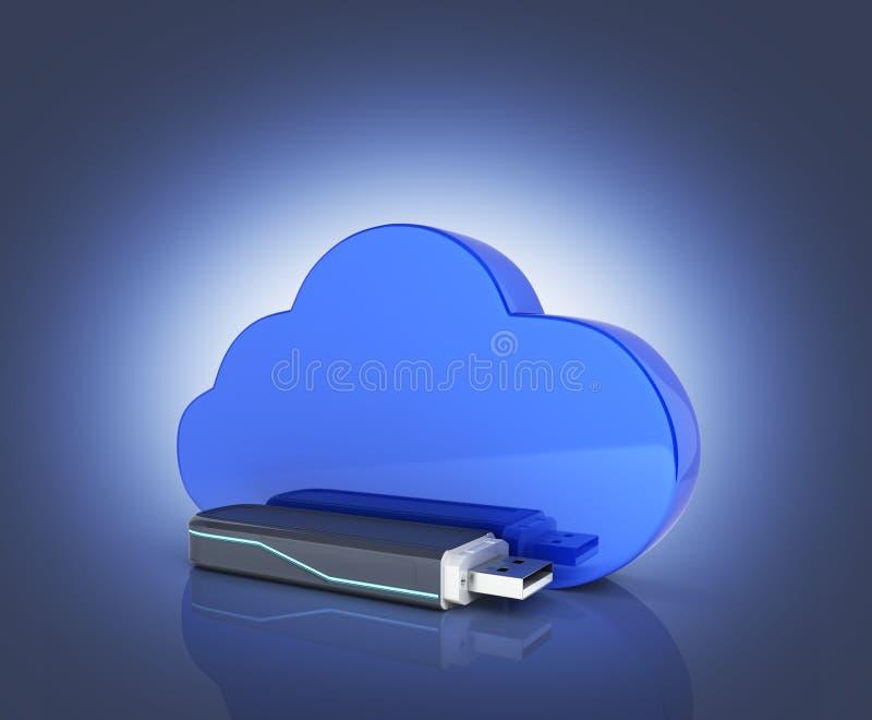 Concept het USB-flashstation van de wolkenopslag met wolk dat op donkerblauwe 3d gradi?ntachtergrond wordt ge?soleerd vector illustratie