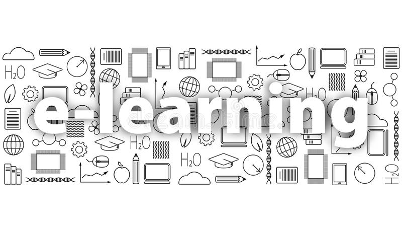 Concept het verre leren Reeks pictogrammen van de onderwijs dunne lijn in zwarte E-lerende school universitaire illustratie met z vector illustratie